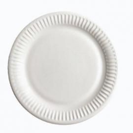 Тарелка бумажная крафт 17 см белая 100 шт