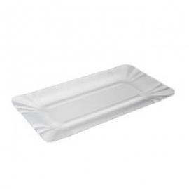 Тарелка бумажная крафт белая прямоугольная 100 шт