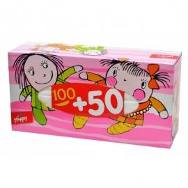 Платочки бумажные Bella baby Happy универсальные двухслойные 100 + 50 шт