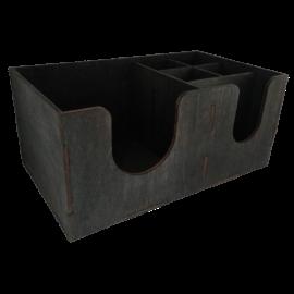 Барный органайзер на шесть отделений черный деревянный