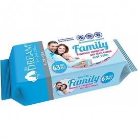 Влажные салфетки Family для всей семьи 63 шт