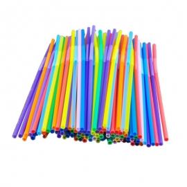 Трубочки для коктейлей цветные с изгибом 1000 шт