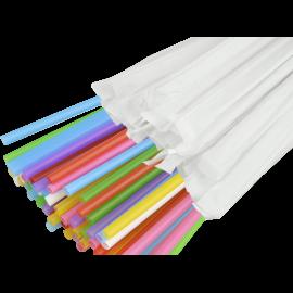 Трубочка цветная 6,8мм в индивидуальной упаковке  21см.     300шт.